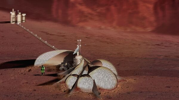 The most ubiquitous and accessible material on Mars is the high (6-14%) iron content silica sand which covers the vast majority of the planet's surface. Once the iron and silica have been separated from the soil matrix, using thermal and magnetic processes, these materials will be moved to hoppers and become the media for induction extrusion /plasma arc sintering heads, positioned by multi-axis CNC hydraulic/servo-driven arms. These robot controlled print-heads will produce first permanent structures on Mars. The monolithic composite shell will be composed of a sintered ferrous latticework on the internal and external surfaces of the structure and a vitrified then devitrified silica core, effectively granite. The lattice and core will provide tensile and comprehensive properties approximating yet surpassing the structural efficiency of ferro-cement or reinforced concrete due to an algorithmiclly regulated deposition of material possible only by through 3d printing. This variable rate of deposition will allow the section modulus of the sintered medium to respond to the specific structural requirements of the form. Also, because of the reductive atmosphere of Mars, the ferrous elements utilized will not undergo the destructive expansion due to oxidation that undermines reinforced concrete structures on earth. The resulting steel and silica forms will serve as bunkers, protecting the Martian inhabitants against solar radiation, small bolide impact, strong prevailing winds, and related sand storms. They will also provide structural reinforcement, insulation, and protection for a nested system of prefabricated graphite/resin inflatable containment units which will provide beta radiation protection, and contain the inhabitable atmosphere. - Sputnik Italia