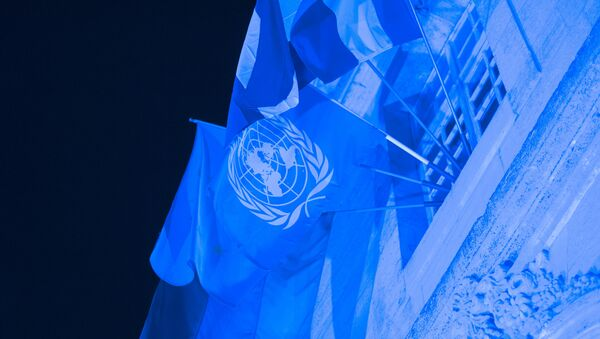 This photo taken on October 23, 2015 in Verdun shows the World Peace Center illuminated in blue light to celebrate the 70th anniversary of the United Nations. - Sputnik Italia