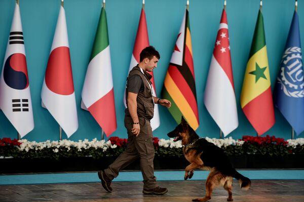 Un agente di polizia monitora la situazione al summit G20 in Turchia. - Sputnik Italia