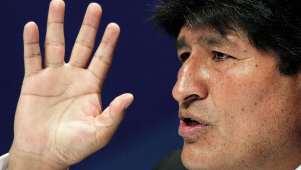 Bolivia's President Evo Morales gestures during a press conference at the Community of Latin American and Caribbean States (CELAC) summit in San Antonio de Belen Heredia province, January 29, 2015 - Sputnik Italia