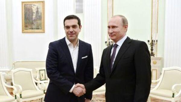 Il primo ministro greco Alexis Tsipras e il Presidente russo Vladimir Putin a Cremlino. - Sputnik Italia