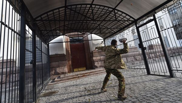 Attacco contro l'ambasciata della Russia a Kiev (foto d'archivio) - Sputnik Italia