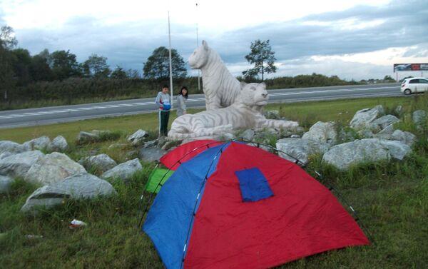 Un monumento dedicato alle tigri siberiane dietro la tenda di Delvigo all'entrata di Vladivostok - Sputnik Italia