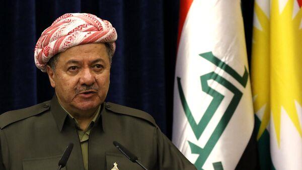 Iraqi Kurdish leader Massud Barzani speaks at a press conference during the visit of the British Foriegn Minister to Arbil, the capital of the Kurdish autonomous region in northern Iraq, on March 17, 2016 - Sputnik Italia
