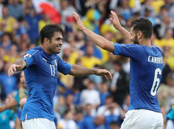 L'esultanza di Eder dopo il gol vittoria segnato all'88° minuto - Sputnik Italia