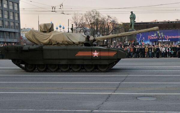 Il carro armato T-14 su piattaforma cingolata Armata durante le prove della Parata della Vittoria. - Sputnik Italia