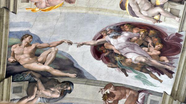 Фреска Микеланджело с изображением Адама на потолке Сикстинской капеллы в Ватикане - Sputnik Italia