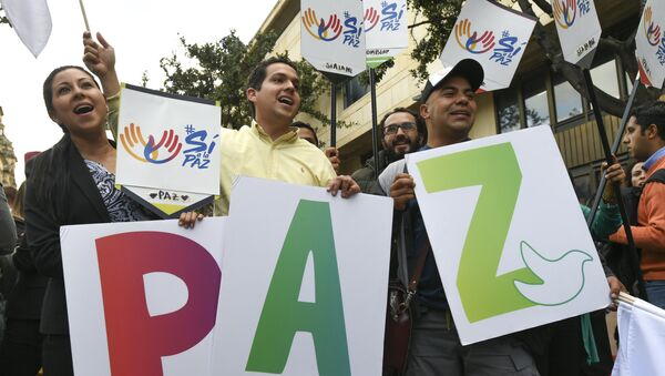 La gente celebra l'approvazione del referendum sulla pace con i ribella delle Farc - Sputnik Italia