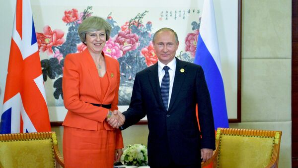 September 4, 2016. Russian President Vladimir Putin and British Prime Minister Theresa May during a meeting held as part of the G20 Summit in Hangzhou. - Sputnik Italia