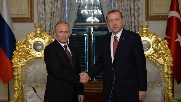 Vladimir Putin e Recep Tayyip Erdogan s'incontrano a Istanbul. - Sputnik Italia