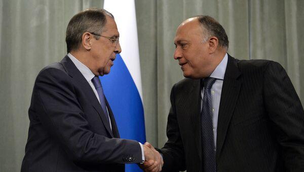 Il ministro degli Esteri russo Lavrov e il suo omologo egiziano Shoukry - Sputnik Italia
