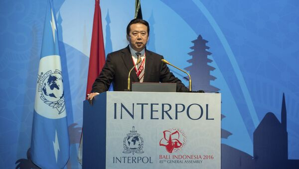 In this photo released by Xinhua News Agency, China's Vice Minister of Public Security Meng Hongwei delivers a campaign speech at the 85th session of the general assembly of the International Criminal Police Organization (Interpol), in Bali, Indonesia, Nov. 10, 2016 - Sputnik Italia
