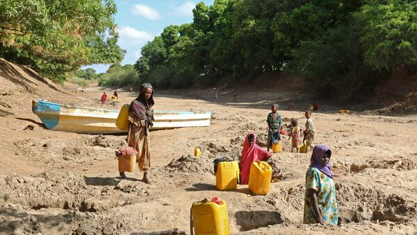 People collect water from shallow wells dug along the Shabelle River bed, which is dry due to drought in Somalia's Shabelle region, March 19, 2016 - Sputnik Italia