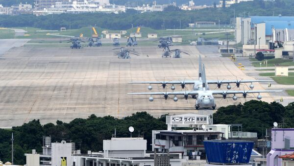 (FILES) A file picture taken on April 24, 2010 shows planes and helicopters stationed at the US Marine Corps Air Station Futenma base in Ginowan, Okinawa prefecture - Sputnik Italia