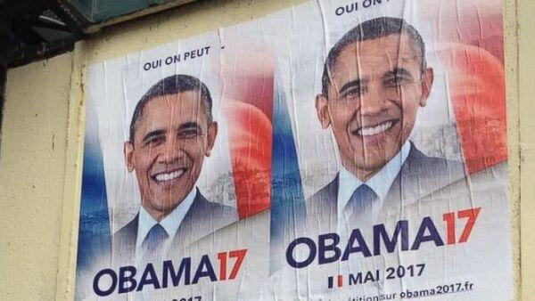 Parigi, manifesti per promuovere la candidatura di Obama all'Eliseo - Sputnik Italia
