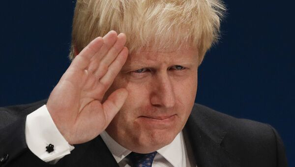 British Foreign Secretary Boris Johnson delivers a speech on the first day of the Conservative party annual conference at the International Convention Centre in Birmingham, central England, on October 2, 2016. - Sputnik Italia