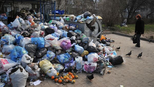 Невывезенный мусор во дворах Львова, Украина - Sputnik Italia