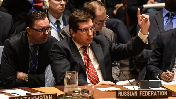 Russian Deputy Ambassador to the United Nations Vladimir Safronkov delivers remarks during the Security Council meeting on the situation in Syria at the United Nations Headquarters, in New York, U.S, April 7, 2017 - Sputnik Italia