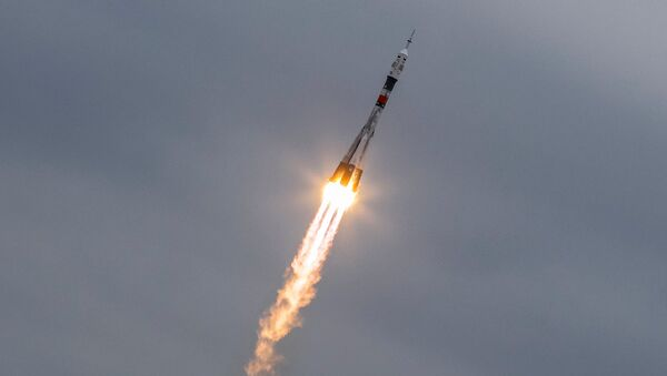 The Soyuz MS-02 spacecraft carrying the crew of Shane Kimbrough of the U.S., Sergey Ryzhikov and Andrey Borisenko of Russia blasts off to the International Space Station (ISS) from the launchpad at the Baikonur cosmodrome, Kazakhstan, October 19, 2016. - Sputnik Italia