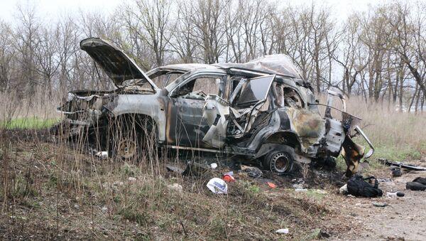Al sito dell'esplosione dell'auto dell'Osce a Lugansk. - Sputnik Italia