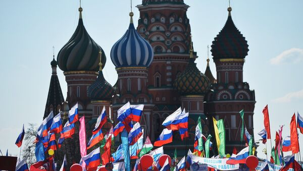 Participants in a May 1 demonstration on Moscow's Red Square. (File) - Sputnik Italia