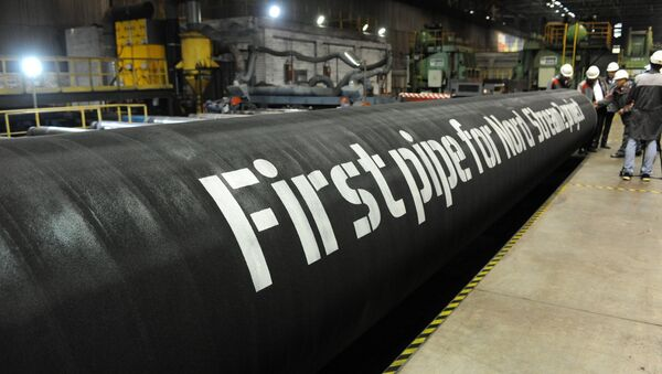 A handout by Nord Stream 2 claims to show the first pipes for the Nord Stream 2 project at a plant of OMK, which is one of the three pipe suppliers selected by Nord Stream 2 AG, in Vyksa, Russia, in this undated photo provided to Reuters on March 23, 2017 - Sputnik Italia