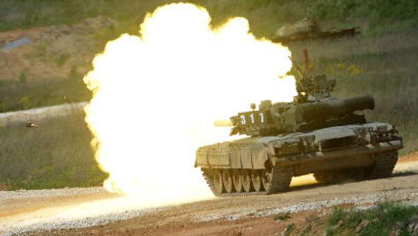 Il carro T-80 durante la presentazione dell'equipaggiamento nel quadro della preparazione al forum tecnico-militare internazionale Armija-2015 nella regione di Mosca. - Sputnik Italia