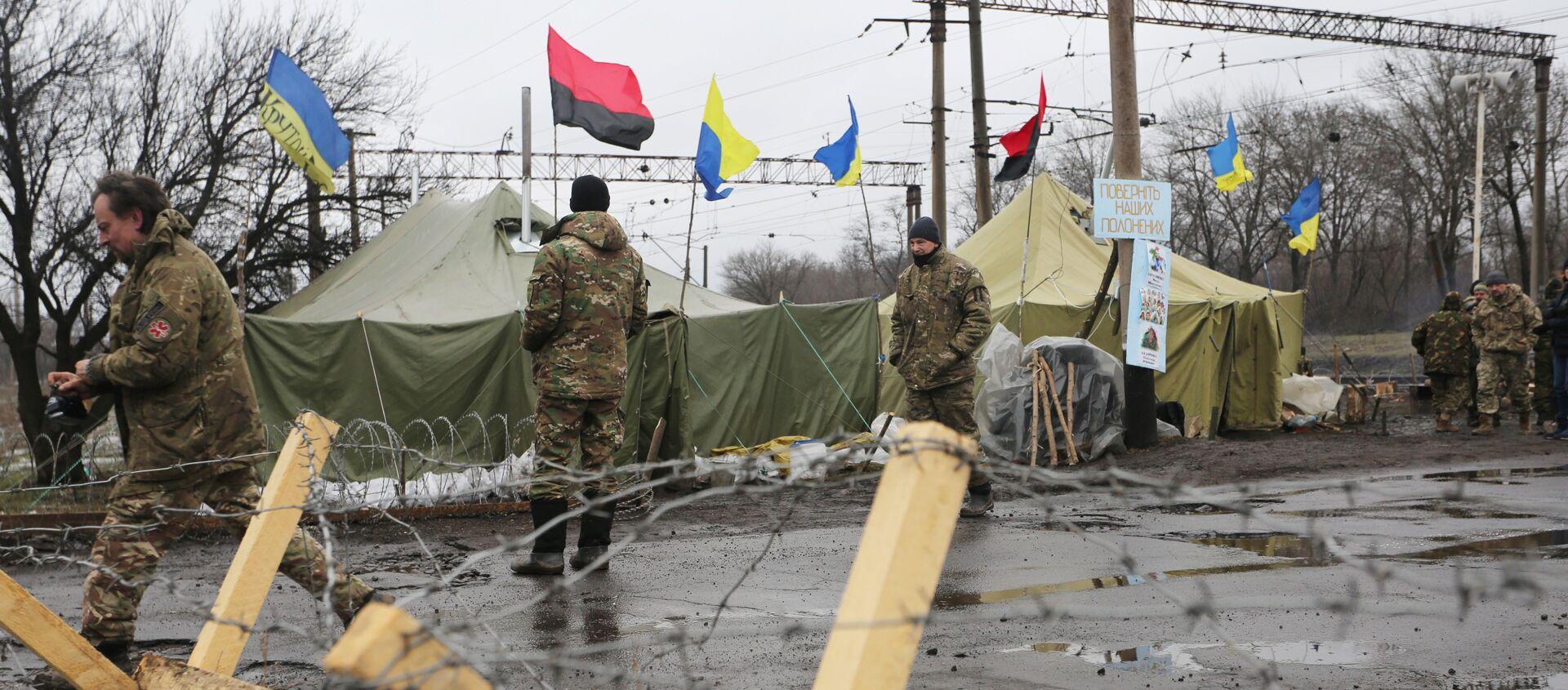 Posto di blocco dei paramilitari ucraini nel Donbass - Sputnik Italia, 1920, 20.02.2020
