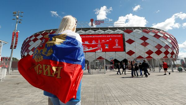 Soccer Football - Russia v Portugal - FIFA Confederations Cup Russia 2017 - Group A - Spartak Stadium, Moscow, Russia - June 21, 2017 Russia fan arrives before the match - Sputnik Italia