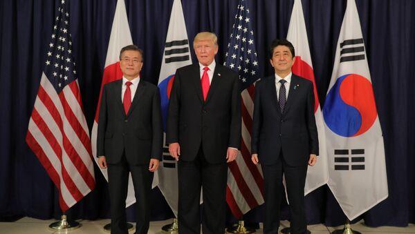 U.S. President Donald Trump meets South Korea's President Moon Jae-In and Japanese Prime Minister Shinzo Abe ahead the G20 leaders summit in Hamburg, Germany July 6, 2017 - Sputnik Italia