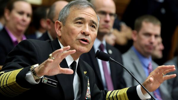 The Commander of the U.S. Pacific Command, Admiral Harry Harris, testifies before a House Armed Services Committee hearing on Military Assessment of the Security Challenges in the Indo-Asia-Pacific Region on Capitol Hill in Washington, U.S, April 26, 2017 - Sputnik Italia