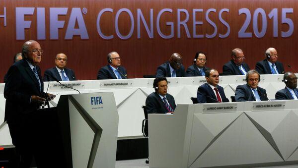 Il presidente della FIFA Blatter parla al congresso di Zurigo. - Sputnik Italia
