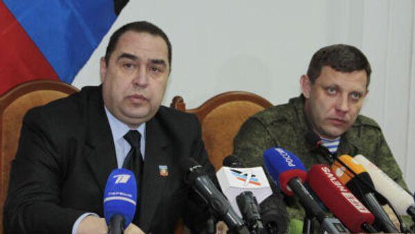 Alexander Zakharchenko(a destra) e Igor Plotnitsky, leader rispettivamente delle autoproclamate repubbliche popolari di Donetsk e Lugansk - Sputnik Italia