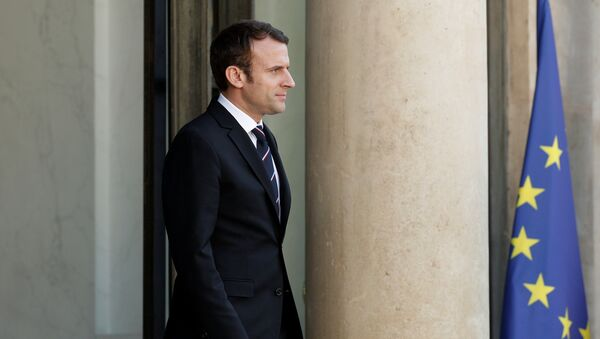 French President Emmanuel Macron waits for a guest on the steps at the Elysee Palace in Paris, France, May 16, 2017. - Sputnik Italia