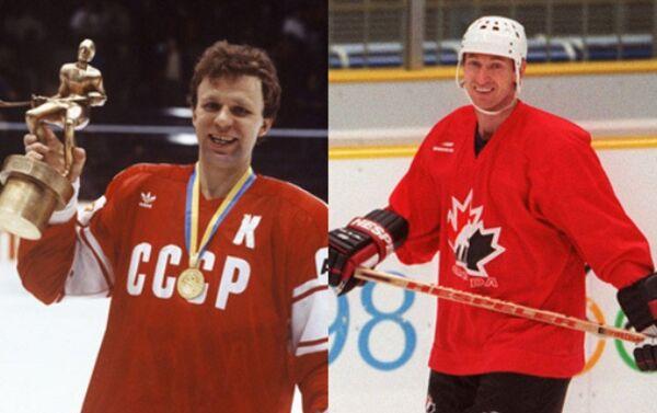Due leggende dell'hockey, Vyatcheslav Fetisov (USSR) e Wayne Gretzki - Sputnik Italia
