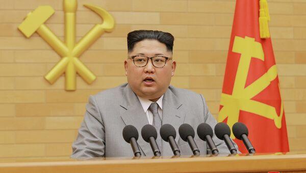 North Korea's leader Kim Jong Un speaks during a New Year's Day speech in Pyongyang on January 1, 2018 - Sputnik Italia