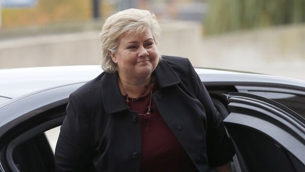 Norway's Prime Minister Erna Solberg arrives for a meeting of the European People's Party in Maastricht, southern Netherlands, Thursday, Oct. 20, 2016. - Sputnik Italia