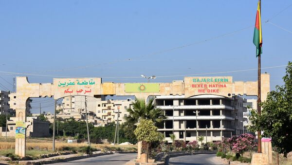 The main entrance to the city of Afrin, along Syria's northern border with Turkey - Sputnik Italia