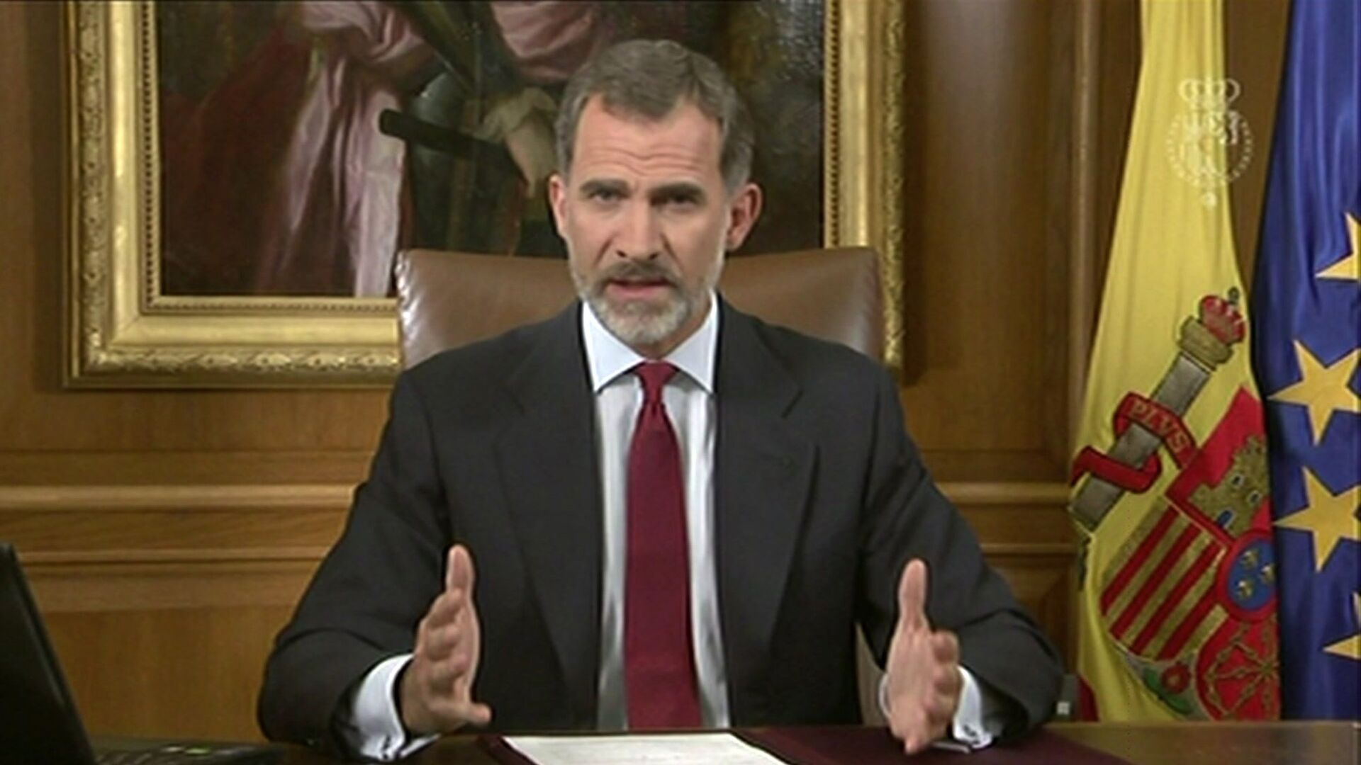 In this image taken from video released by Spanish Royal Palace, Spain's King Felipe VI delivers a speech on television from Zarzuela Palace in Madrid, Tuesday, Oct. 3, 2017. - Sputnik Italia, 1920, 30.05.2021
