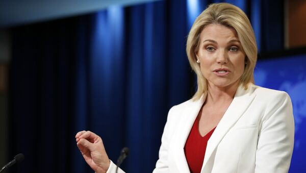 State Department spokeswoman Heather Nauert speaks during a briefing at the State Department in Washington, Wednesday, Aug. 9, 2017 - Sputnik Italia