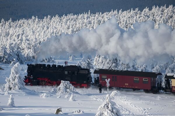 Una locomotiva della Harzer Schmalspurbahnen, Germania. - Sputnik Italia