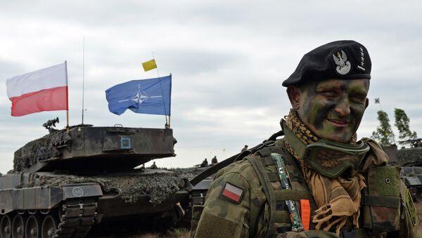 Polish tank commander smiles after a NATO Response Force (NRF) exercise in Zagan, southwest Poland on June 18, 2015. - Sputnik Italia
