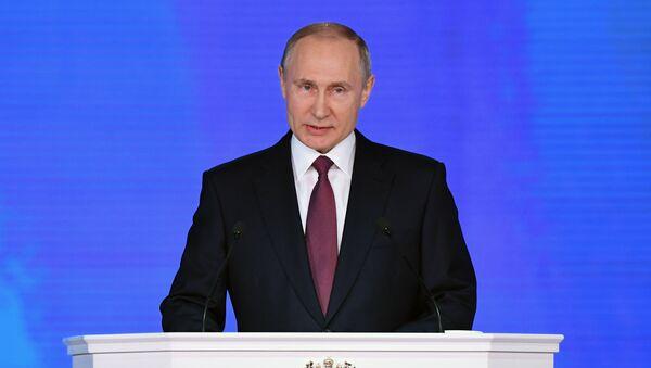 Il discorso del presidente russo Vladimir Putin all'Assemblea Federale. - Sputnik Italia