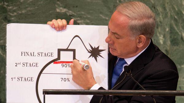 Benjamin Netanyahu alle Nazioni Unite usa un diagramma per spiegare il programma nucleare iraniano. - Sputnik Italia