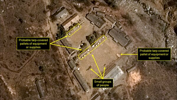 This satellite image released and notated by Airbus Defense & Space and 38 North on April 12, 2017, shows the Punggye-ri nuclear test site in North Korea - Sputnik Italia