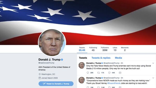 This frame grab shows part of the Twitter page of US President Donald Trump. - Sputnik Italia