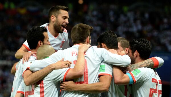 La Spagna festeggia il gol della vittoria contro l'Iran - Sputnik Italia