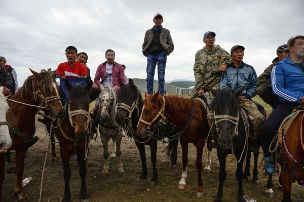 Spettatori a cavallo osservano il combattimento Kurash, anch'esso comune a molti popoli dell'Asia Centrale - Sputnik Italia