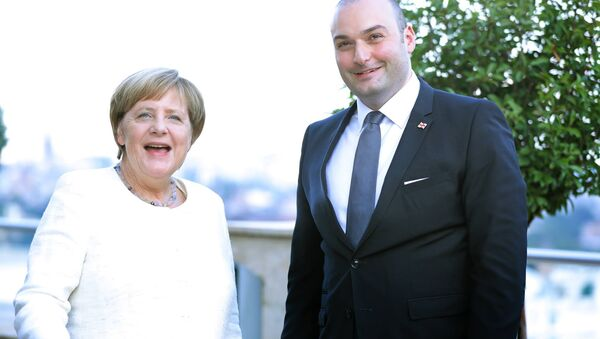 Angela Merkel e Mamuka Bakhtadze, il primo ministro georgiano - Sputnik Italia