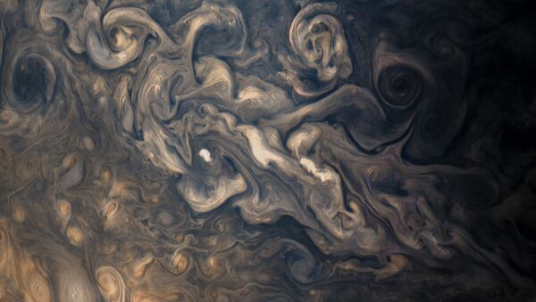 Jupiter's stormy atmosphere, photographed by Juno's JunoCam during the probe's eighth flyby. - Sputnik Italia